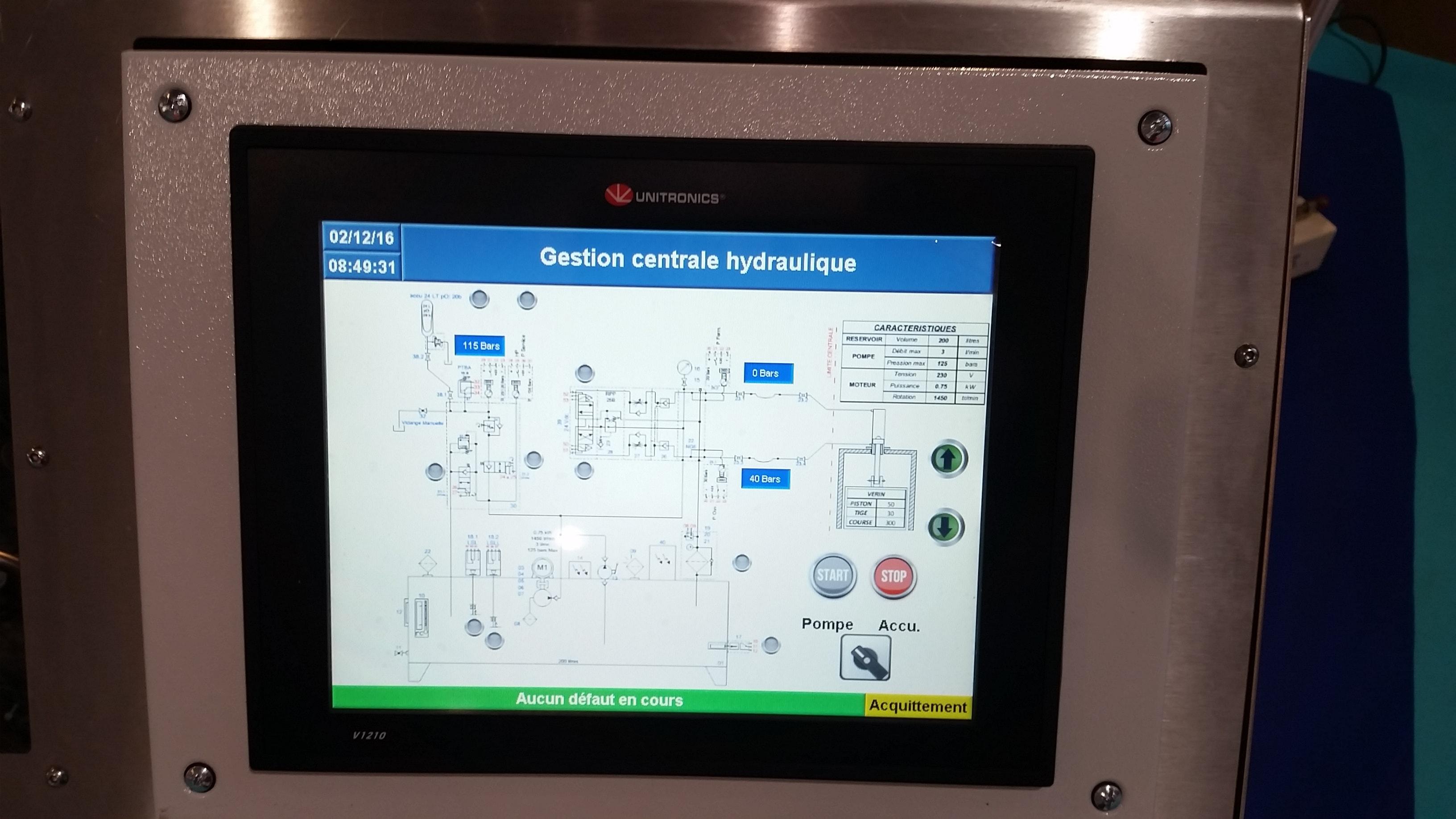 Ecran centrale hydraulique-min